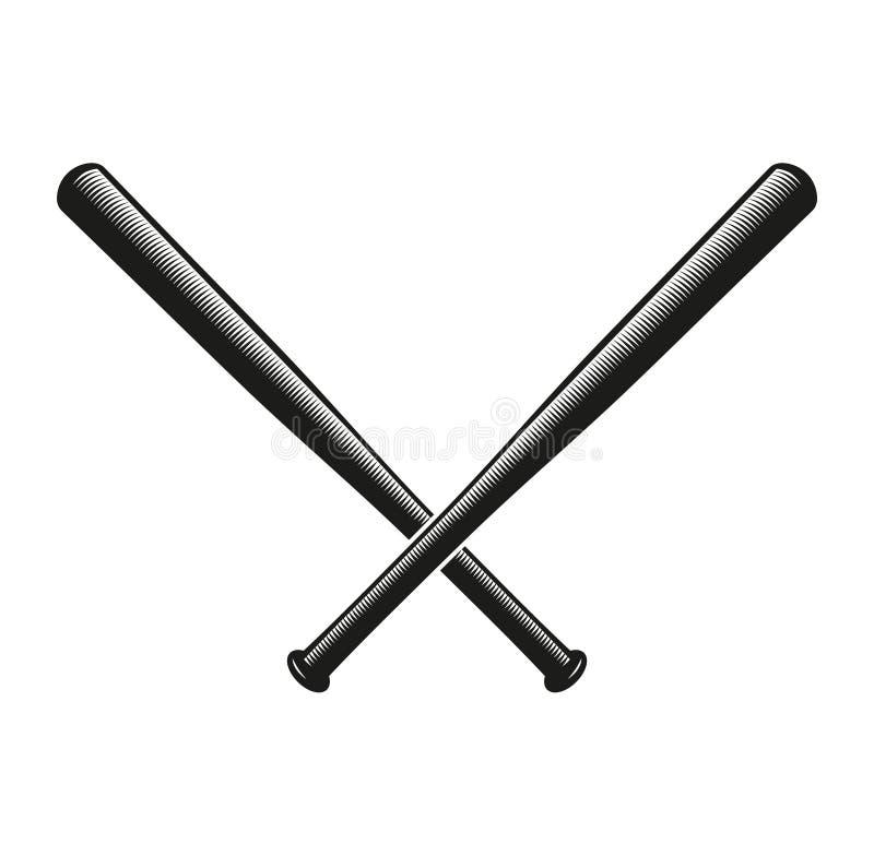 Logo d'isolement de battes de baseball croisé par couleur noire abstraite Logotype américain d'équipement de sport Icône national illustration stock