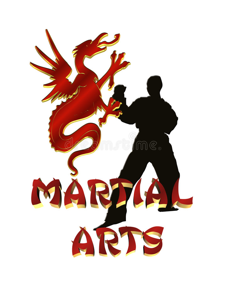 logo d'isolement par dessin d'arts martial illustration libre de droits