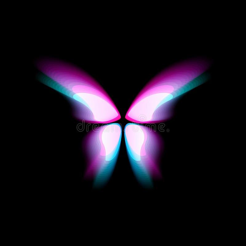 Logo d'isolement par papillon Les papillons lumineux de colorfull s'envole, mouvement dynamique, effet brouillé Logotype abstrait illustration stock