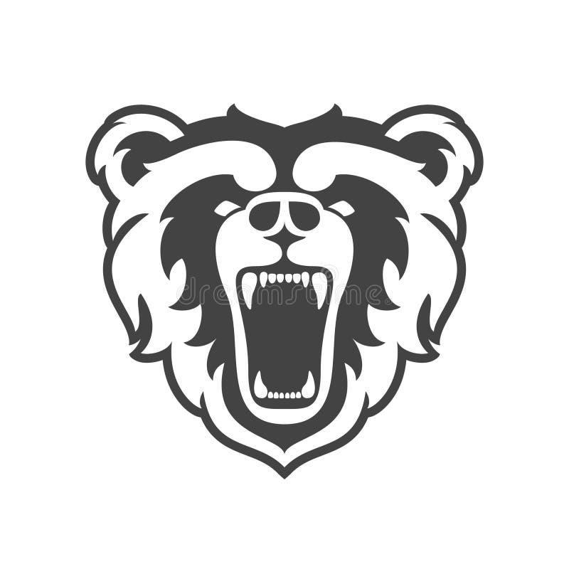 Logo d'ours pour le club ou l'équipe de sport Logotype animal de tête de mascotte descripteur Illustration de vecteur illustration libre de droits