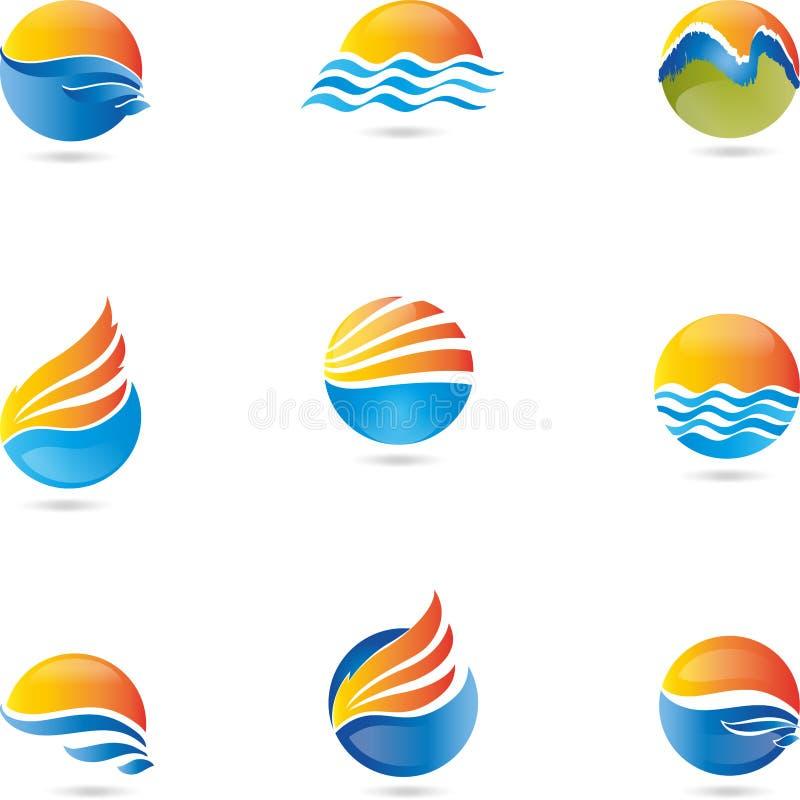 Logo, 3D, rysunek, muzyka, wektor, fala, słońce ilustracji