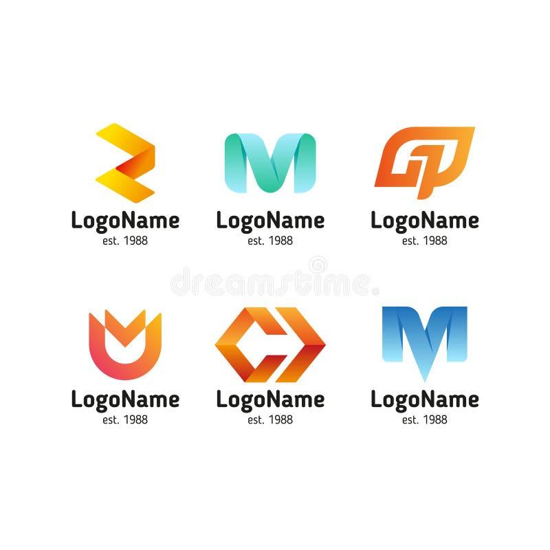 Logo dans le style moderne, ensemble de signes abstraits illustration libre de droits