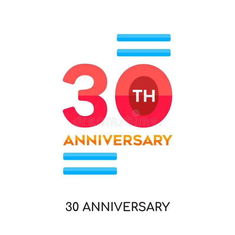 logo de 30 anniversaires d'isolement sur le fond blanc pour votre Web, m illustration stock
