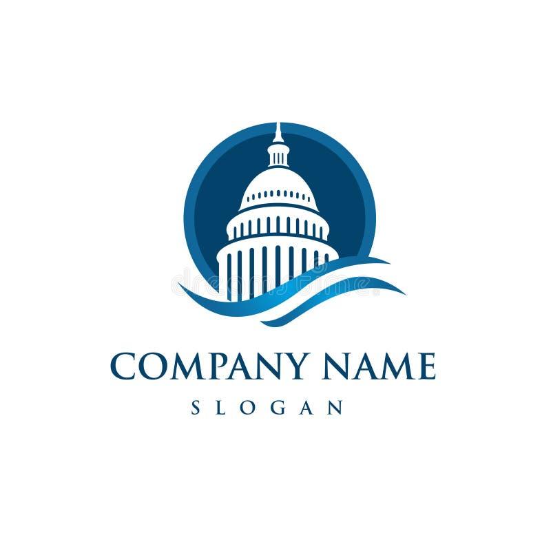 Logo de bâtiment de capitol Icône de gouvernement Conception de la meilleure qualité illustration stock