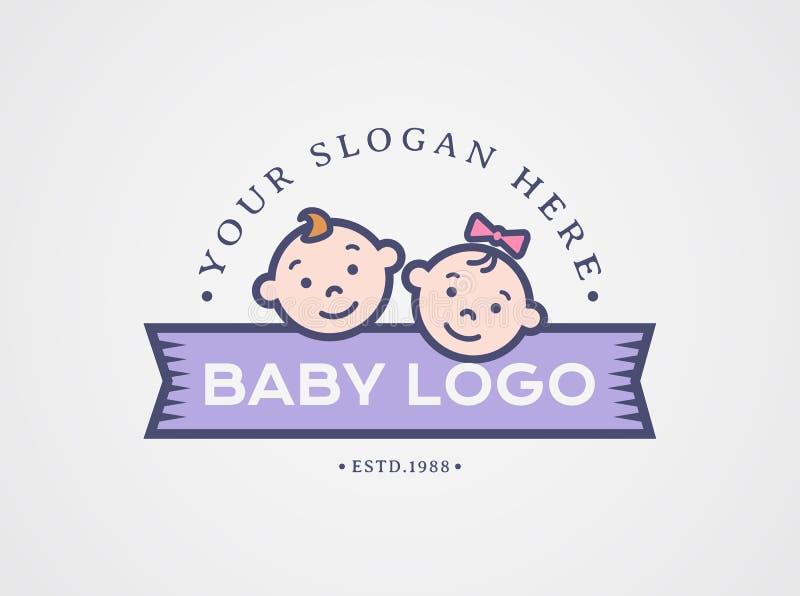 Logo de bébé Symbole de vecteur avec des visages d'enfants illustration stock