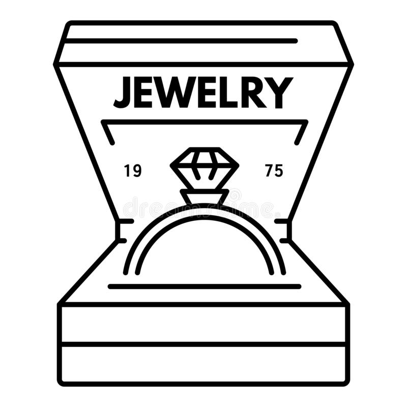 Logo de bague à diamant de bijoux, style d'ensemble illustration stock