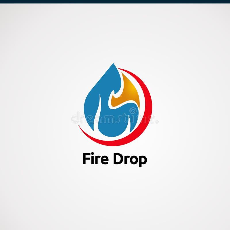 Logo de baisse du feu avec le vecteur, l'icône, l'élément, et le calibre rouges de logo de concept de cercle pour la société illustration libre de droits