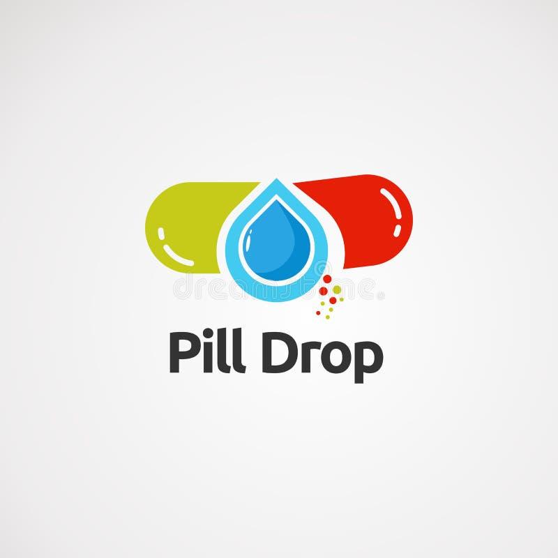 Logo de baisse de pilule avec le concept, l'icône, l'élément, et le calibre simples pour la société illustration stock