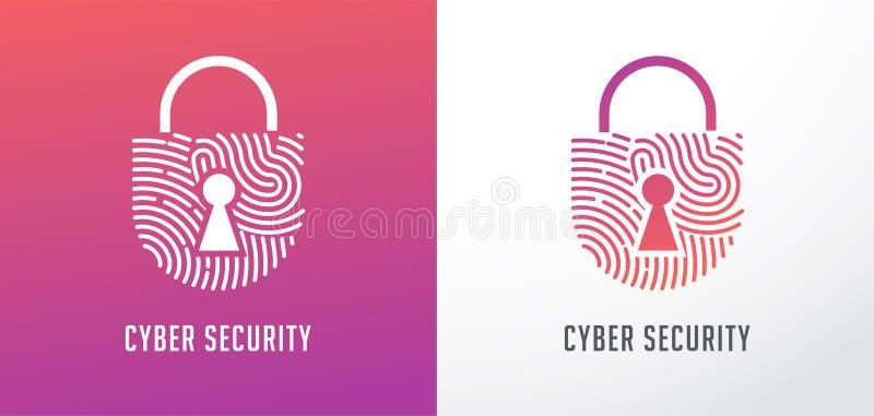 Logo de balayage d'empreinte digitale, intimité, icône de serrure, sécurité de cyber, information d'identité et protection de rés illustration libre de droits