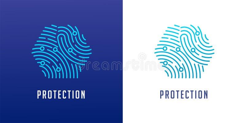 Logo de balayage d'empreinte digitale, intimité, sécurité de cyber, information d'identité et protection de réseau Graphisme de v illustration de vecteur