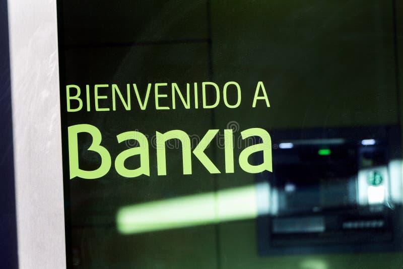 Logo de Bankia sur le bureau de succursale bancaire de Bankia photographie stock