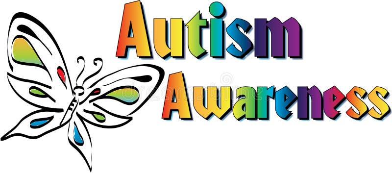 Logo de bannière de conscience d'autisme de papillon illustration libre de droits
