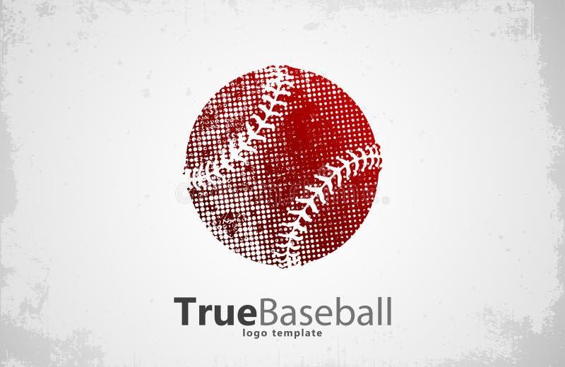 Logo de base-ball Conception de boule grunge Logo créatif de sport photos stock