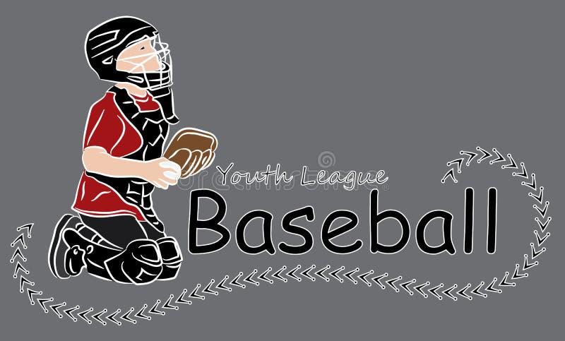 Logo de base-ball de ligue de la jeunesse illustration stock