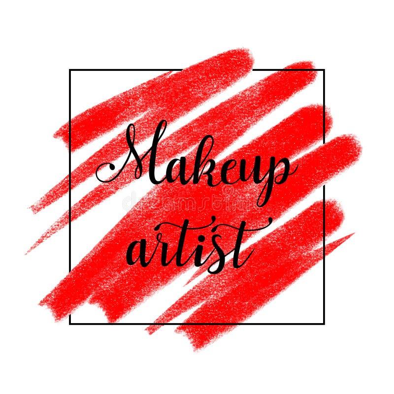 Logo de beauté avec marquer avec des lettres le maquilleur, bannière, affiche illustration libre de droits