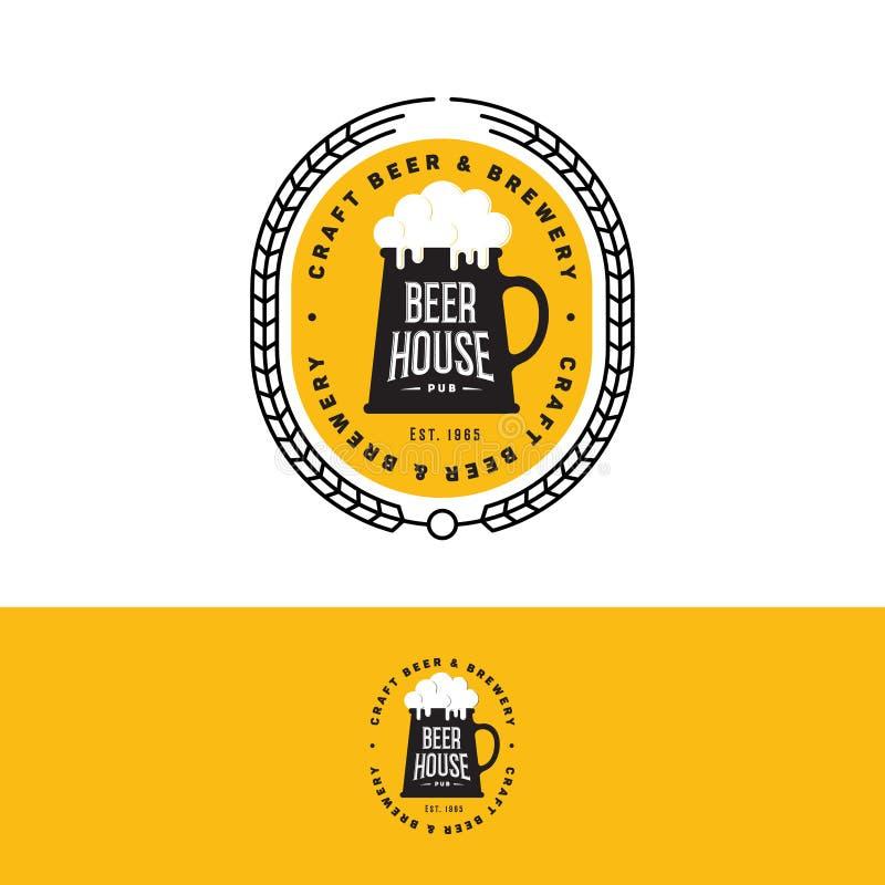 Logo de bière de métier Emblème de brasserie sur le fond jaune illustration libre de droits