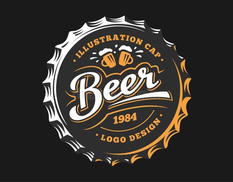 Logo de bière sur le chapeau - dirigez l'illustration, conception de brasserie d'emblème illustration stock