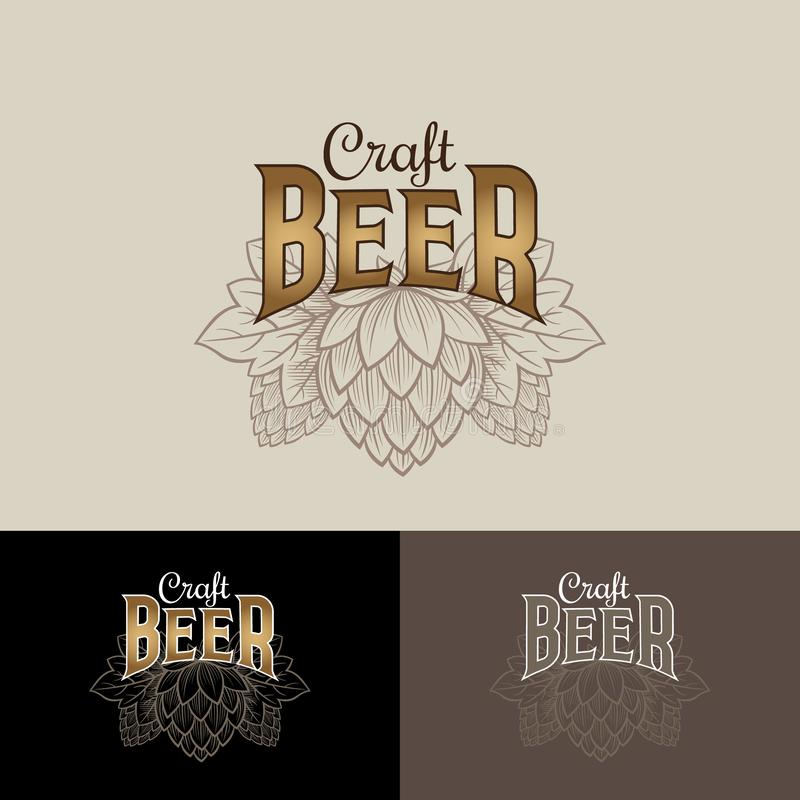 Logo de bi?re de m?tier Logo de compagnie de brassage Emblème ou enseigne de bar de bière Houblon en cônes et composition typogra illustration libre de droits
