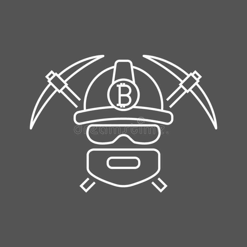 Logo de bitoins de mineur Devises de Bitcoin d'exploitation cryptos Bitcoin-mineur avec la pioche 2 Illustration de vecteur illustration de vecteur