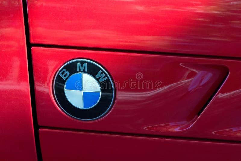 Logo de BMW sur la voiture de BMW photo stock