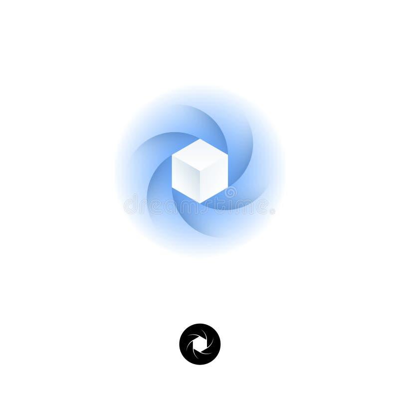 Logo de boîte d'hexagone Icône d'UI Logo bleu de diaphragme Emblème de service de nuage avec l'ombre illustration stock