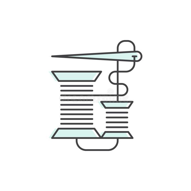 Logo de bobine de bobine, de bobine, d'aiguille et de concept de couture, vêtements sur mesure, réparation, symbole de boutique,  illustration stock
