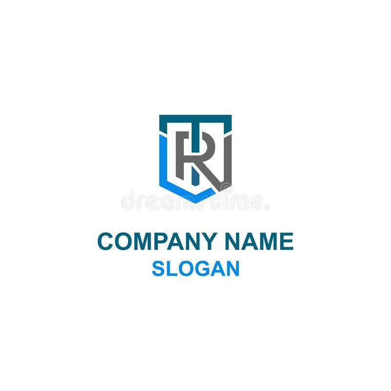 Logo de bouclier d'initiale de lettre de TR illustration de vecteur