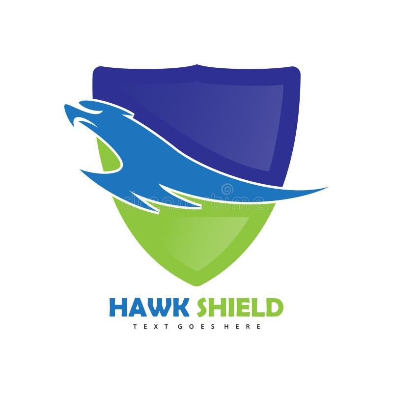 Logo de bouclier d'oiseau de faucon illustration stock