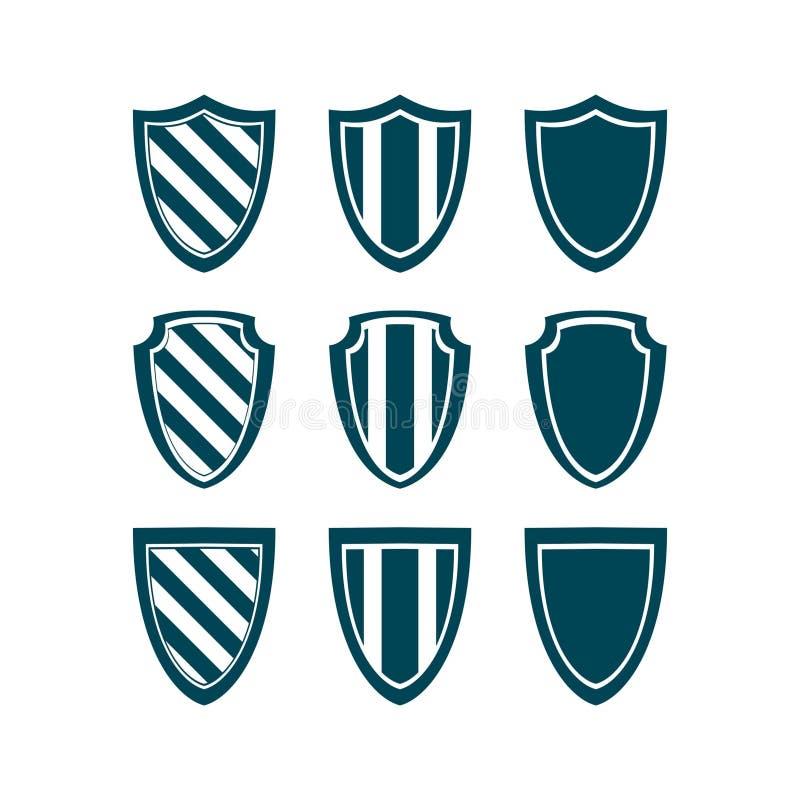 Logo de bouclier, emblème, protection, sécurité, sécurité, ensemble de collection de conception de vecteur d'icône de symbole de  photographie stock libre de droits