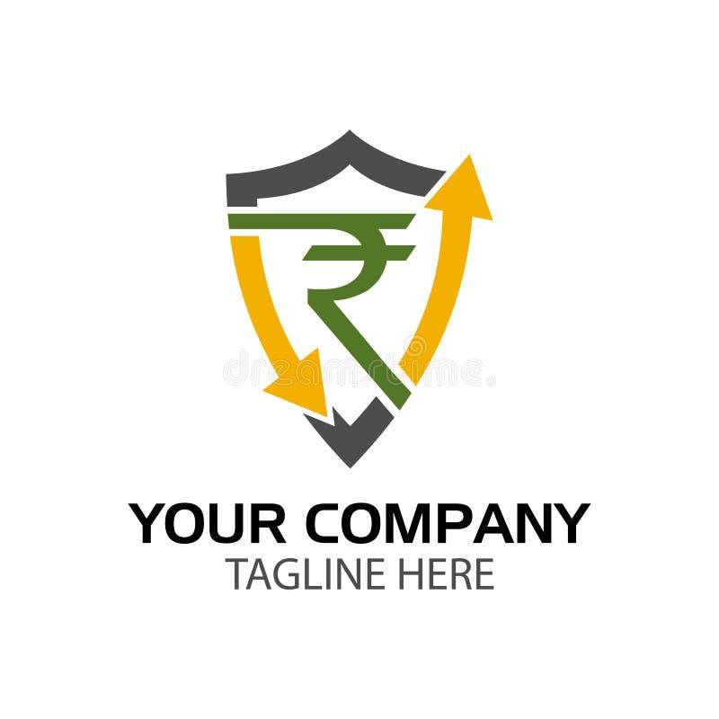 Logo de bouclier de roupie, conception plate Illustration de vecteur sur le fond blanc illustration libre de droits