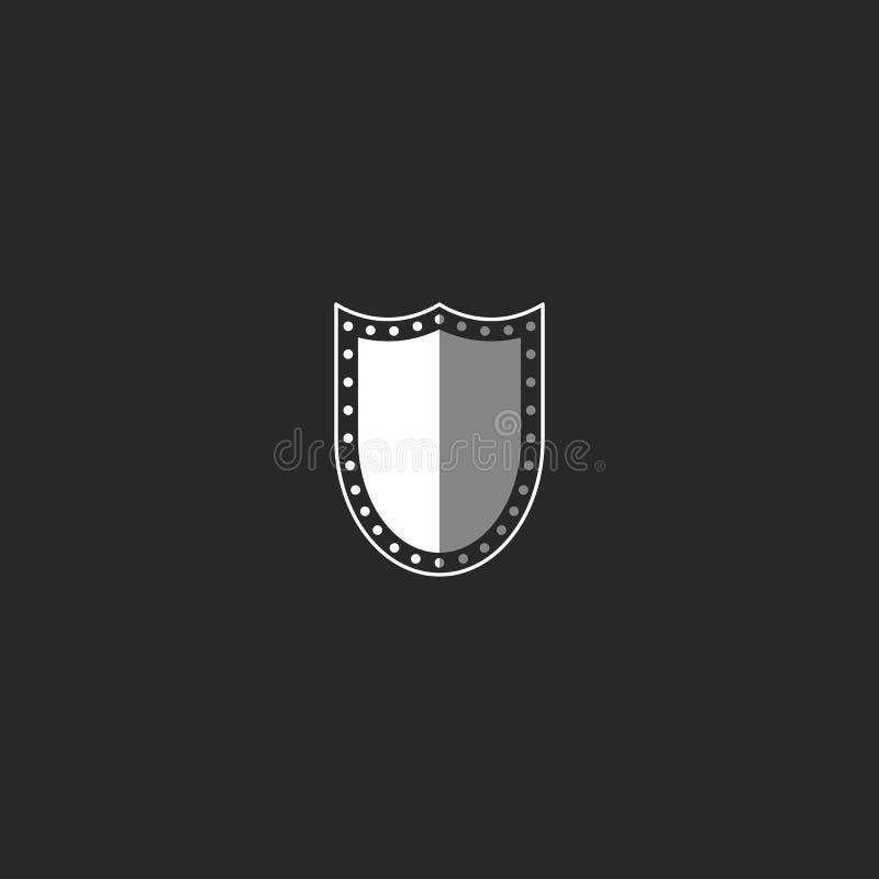 Logo de bouclier, symbole noir et blanc, emblème de sécurité de maquette illustration libre de droits