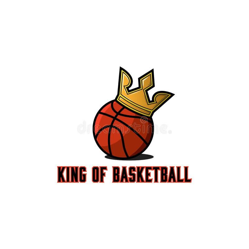 Logo de boule de basket-ball, calibre d'emblème de tournoi d'équipes de panier, autocollant de sport de streetball ou maquette d' illustration de vecteur