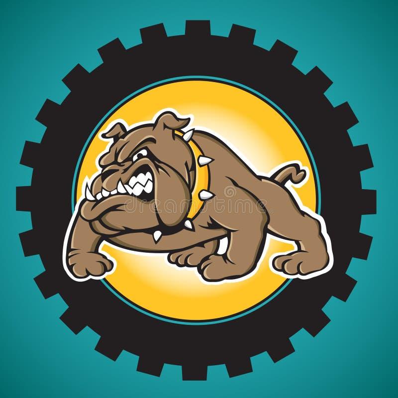 Logo de bouledogue avec un contexte de trains illustration libre de droits