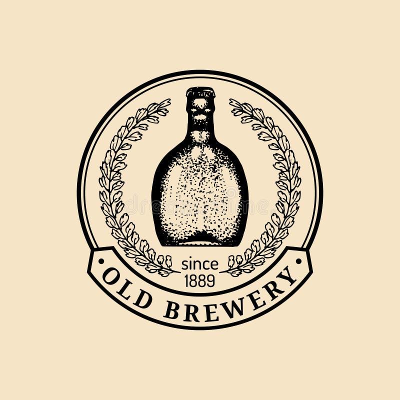 Logo de bouteille à bière de Papier d'emballage Rétro signe de bière blonde allemande La main a esquissé l'illustration de bière  illustration libre de droits