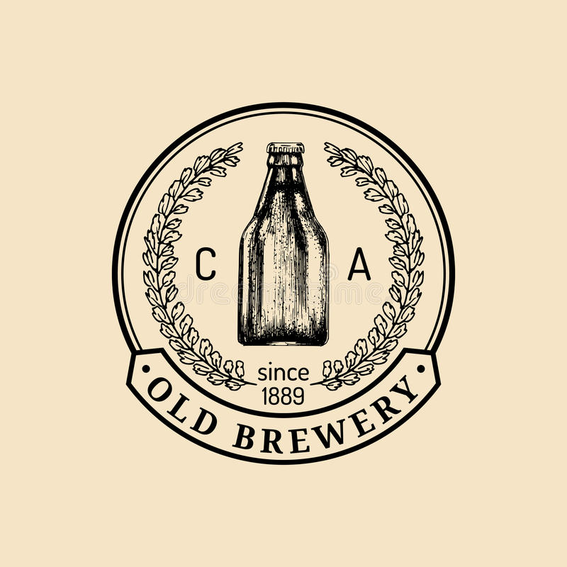Logo de bouteille à bière de Papier d'emballage Rétro signe de bière blonde allemande La main a esquissé l'illustration de bière  illustration stock