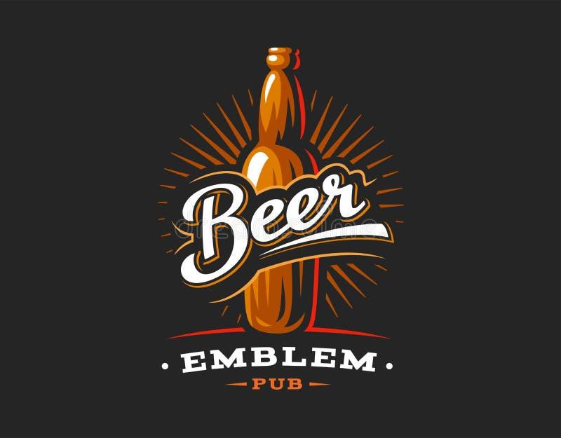 Logo de bouteilles à bière, emblème sur le fond foncé illustration libre de droits