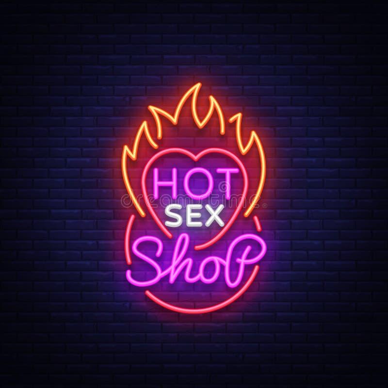 Logo de boutique de sexe dans le style au néon Concevez le modèle, l'enseigne au néon chaud de boutique de sexe, bannière légère  illustration libre de droits