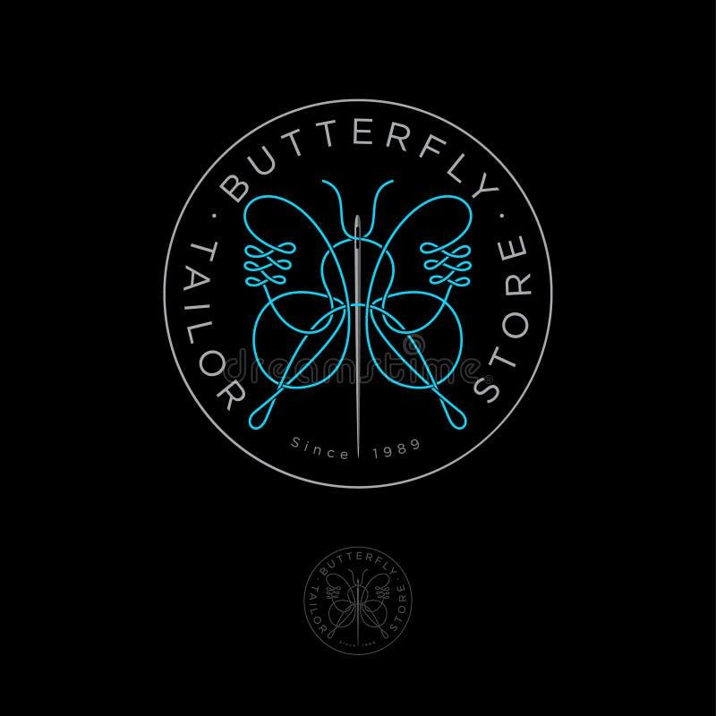 Logo de boutique de tailleur Emblème de couture de studio Logo de concepteur de vêtements illustration libre de droits