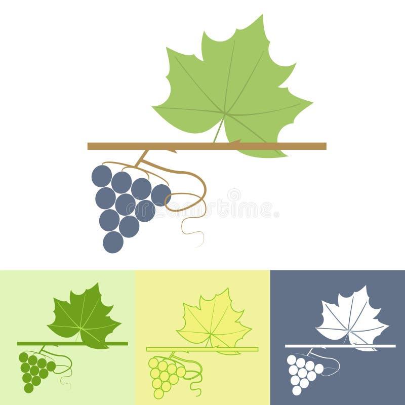 Logo de branche de raisin illustration de vecteur