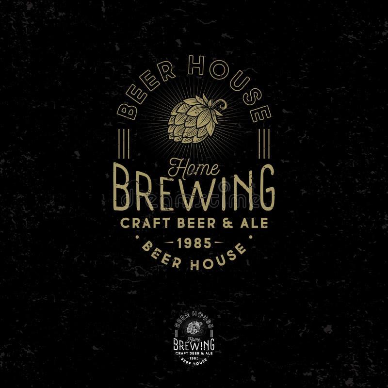 Logo de brassage Emblème de bar Icône de houblon en cônes Logotype de bière de métier illustration stock