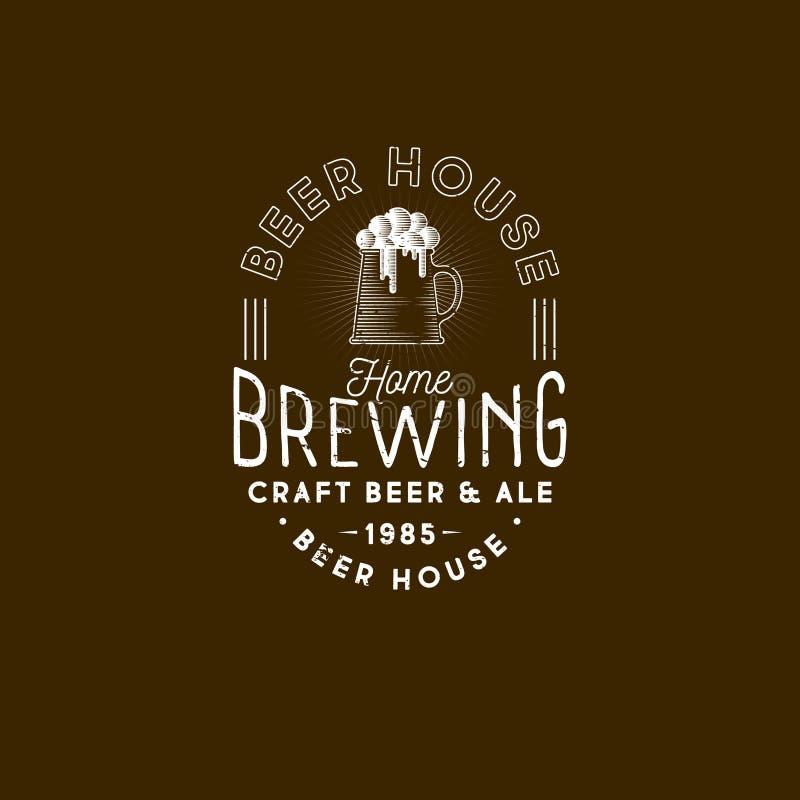 Logo de brassage Emblème de bar Icône de houblon en cônes Logotype de bière de métier illustration de vecteur