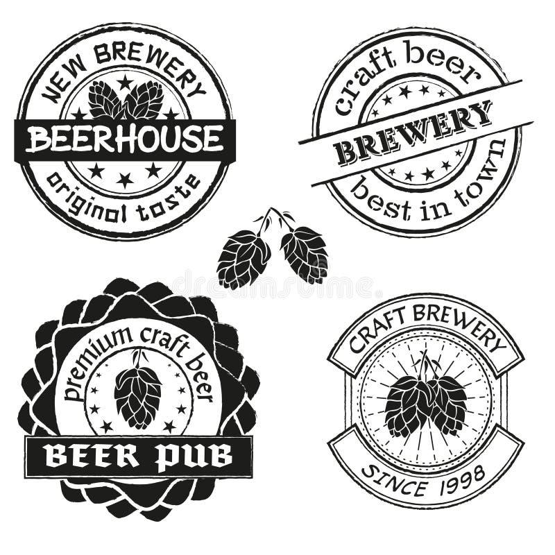 Logo de brasserie de vintage, emblèmes et ensemble de vecteur d'insignes Collection de labels de société de brassage de vintage illustration libre de droits