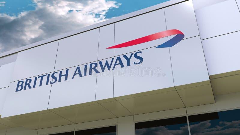 Logo de British Airways sur la façade moderne de bâtiment Rendu 3D éditorial illustration stock