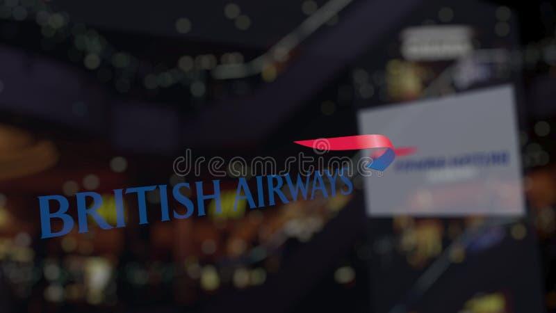 Logo de British Airways sur le verre contre le centre brouillé d'affaires Rendu 3D éditorial illustration de vecteur