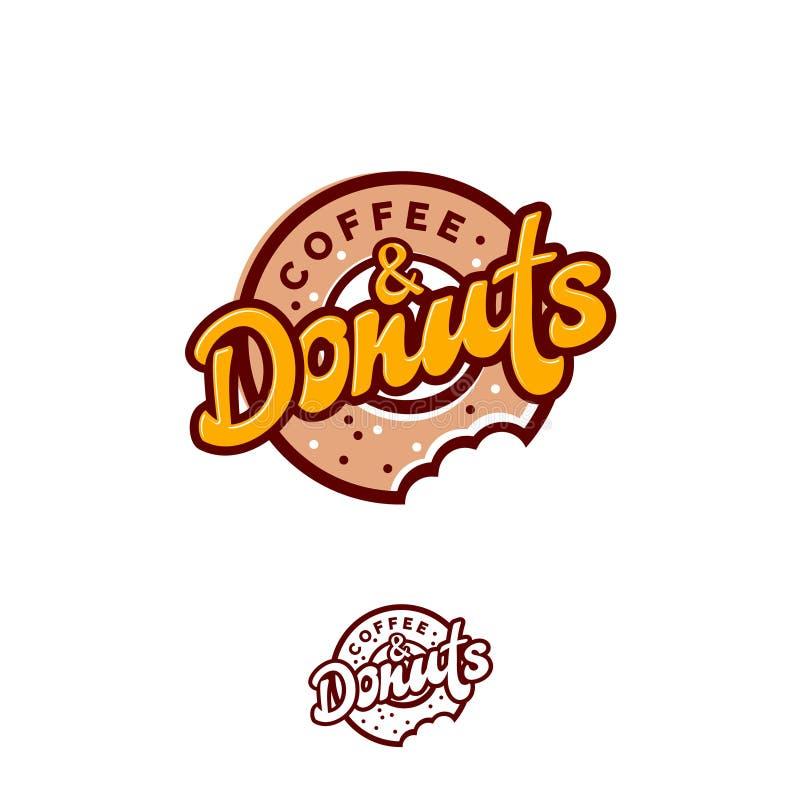 Logo de butées toriques et de café Emblème de café ou de boulangerie Beignet mordu avec l'inscription et les petites sucreries illustration libre de droits