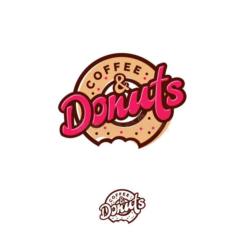 Logo de butées toriques et de café Emblème de café ou de boulangerie Beignet mordu avec l'inscription et les petites sucreries illustration stock