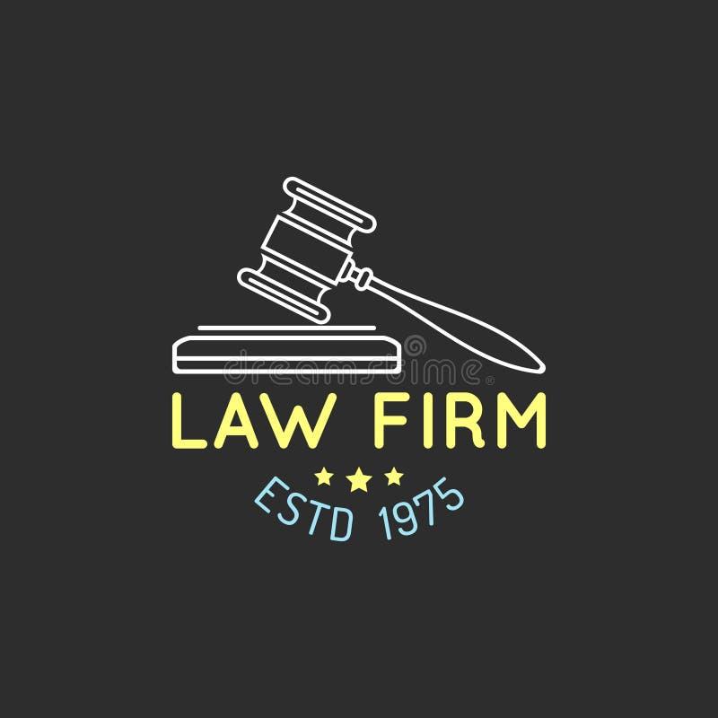 Logo de cabinet juridique avec l'illustration de marteau Dirigez la mandataire de vintage, label d'avocat, insigne Acte, principe illustration libre de droits