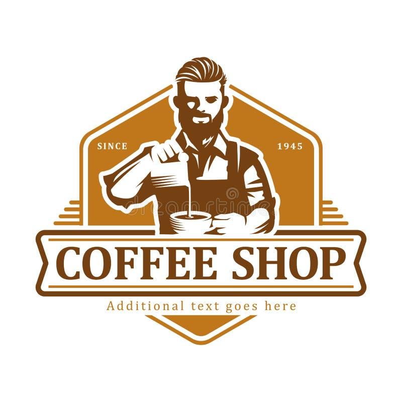 Logo de café, insigne ou emblème d'étiquette vectorielle sur fond blanc isolé, café illustration libre de droits