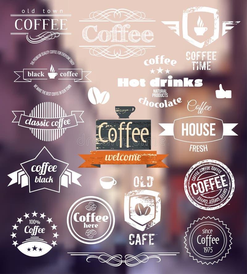 Logo de café Vieux concept de timbre de ville Rétros insignes et labels de café de vecteur illustration stock