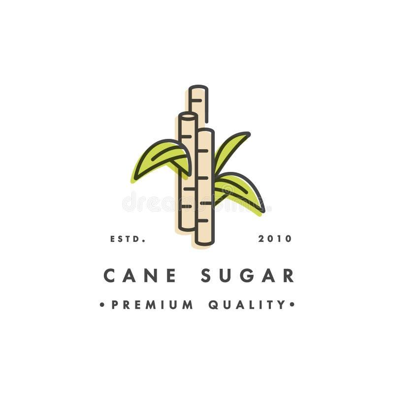 Logo de calibre de conception d'emballage et emblème - production de sucre - sucre de canne Logo dans le style linéaire à la mode illustration libre de droits